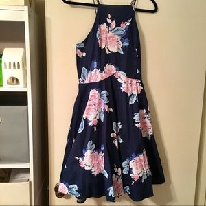 Navy Floral Spring Dress